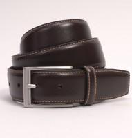 Dents Mens Brown Leather Belt - Contrast Top Stitch Detail