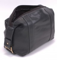 Dents Black Leather Washbag - Top Opening