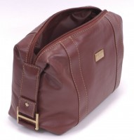Dents English Tan Leather Washbag - Top Opening