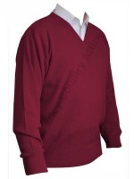 Franco Ponti V-Neck Sweater - Burgundy