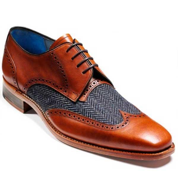 Barker Shoes Jackson Brogue Cedar Calf Blue Tweed