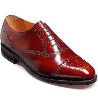 Barker Shoes - Alfred Wood Brown Hi-Shine - Semi Brogue Style Wide-Fit