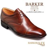 Barker Flex Shoes - Nick Dark Brown Calf - Derby Style