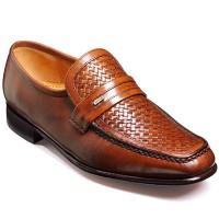 Barker Shoes - Adrian Moccasin Chestnut Calf & Weave Loafer