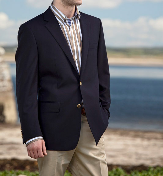 Get The Look: Magee Navy Blazer with Chinos - Tan Barker Shoes