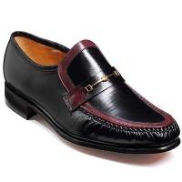 Barker Shoes - Laurie Black & Burgundy Kid Leather - Moccasin Loafer