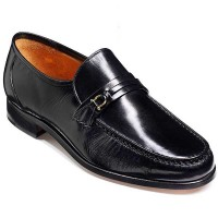 Barker Shoes - Wade Black Kid Leather - Moccasin Loafer