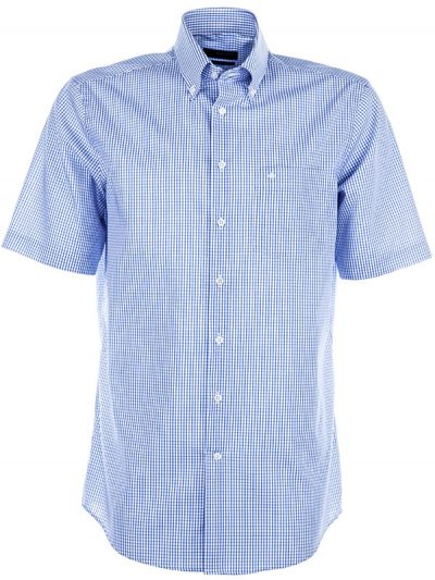 Seidensticker Short Sleeve Shirt - Button Down Collar - Splendesto - Blue Check