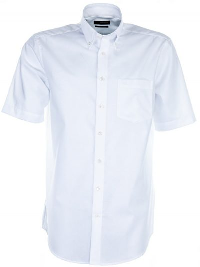 Seidensticker Short Sleeve Shirt - Button Down Collar - Splendesto - White