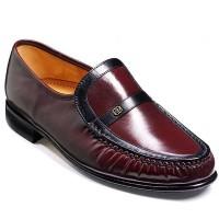 Barker Shoes - Jefferson Burgundy/Black Kid Leather - Moccasin