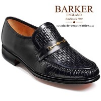 Barker Shoes - Laurie Black Kid/Weave Print Leather - Moccasin Loafer