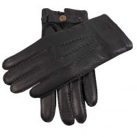 Dents Men's Handsewn Cashmere Lined Deerskin Gloves - Black