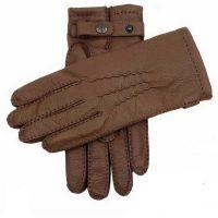 Dents Men's Handsewn Cashmere Lined Deerskin Gloves - Tobacco Brown