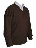 Franco Ponti V-Neck Sweater - Chocolate