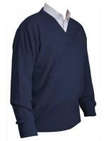 Franco Ponti V-Neck Sweater - Dark Denim