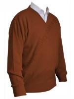 Franco Ponti V-Neck Sweater - Rust