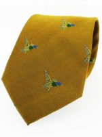 Soprano - Gold Ground With Flying Ducks Country Silk Tie