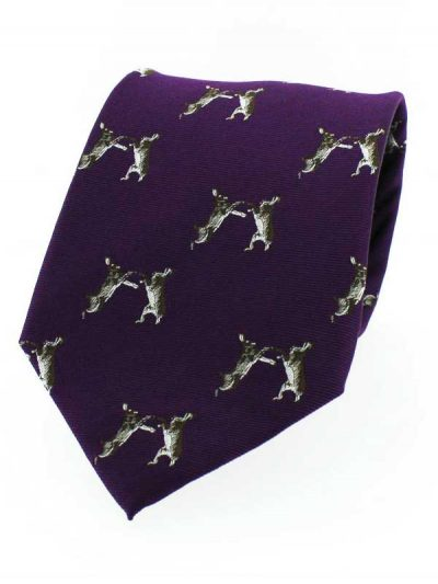 Soprano - Purple Ground Hare Country Silk Tie