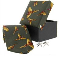 Soprano - Tie & Cufflink Gift Set - Green With Flying Pheasants