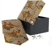 Soprano - Tie & Cufflink Gift Set - Tweed Standing Pheasant