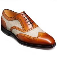 Barker Shoes - Cambridge - Cedar Calf & Oatmeal Canvas