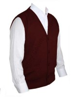 Franco Ponti Sleeveless Cardigan - Gilet - Merino Blend K06 - Burgundy
