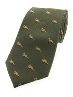 Soprano - Green Standing Fox Woven Silk Country Tie