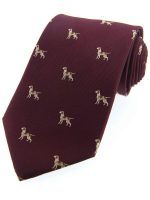 Soprano - Wine Pointer Dogs Woven Silk Country Tie