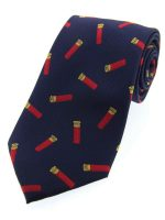 Soprano - Blue with Red Shotgun Cartridges Woven Silk Country Tie