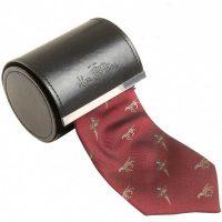 Alan Paine - Ripon Silk Tie - Pheasant & Dog - Bordeaux