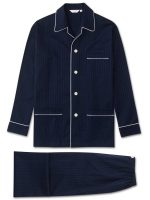Derek Rose - Royal Cotton 'Dobby' Spot Pyjamas - Navy