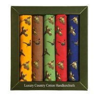 Soprano - 5 Cotton Hankies Gift Set - Pheasants