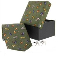Soprano - Tie & Cufflink Gift Set - Green Country Birds