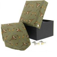 Soprano - Tie & Cufflink Gift Set - Cross Guns Pheasants