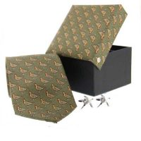 Soprano - Tie & Cufflink Gift Set - Green Standing Grouse