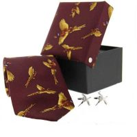 Soprano - Tie & Cufflink Gift Set - Wine flying pheasants