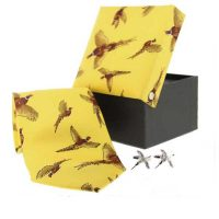Soprano - Tie & Cufflink Gift Set - Yellow Flying Pheasant