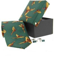 Soprano - Tie & Shotgun Cufflink Gift Set - Flying Pheasants