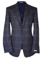 Magee Men's Jacket - Herringbone Blue Tweed with Overcheck