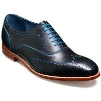 Barker Shoes - Truman - Punched Style - Navy & Blue Calf