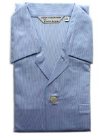 Derek Rose - Jermyn Cotton Pyjamas - Blue Fine Stripe