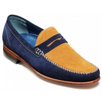 NEW!! Barker Shoes - William Moccasin - Navy & Caramel Suede
