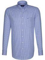 Seidensticker Shirts Button Down Collar Blue Gingham Check