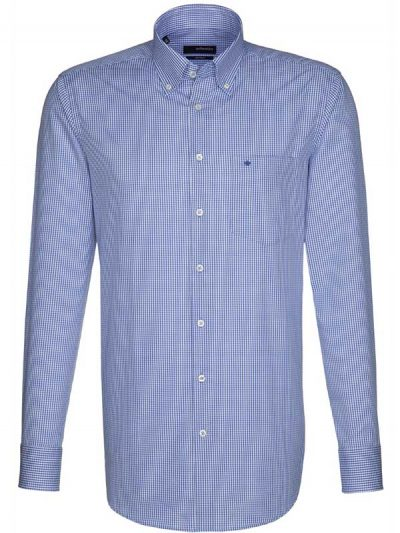 Seidensticker Shirts Button Down Collar Blue Gingham Check