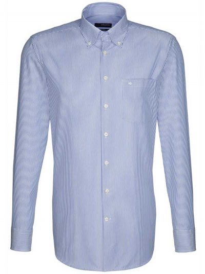 Seidensticker Shirts - Button Down Collar - Blue Stripe