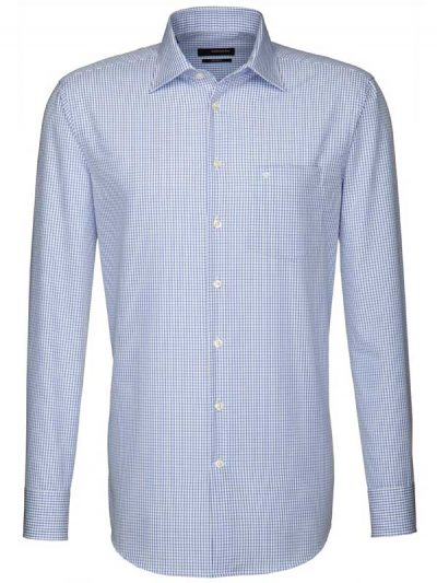 Seidensticker Shirts - Fine Blue Check - Splendesto Cotton