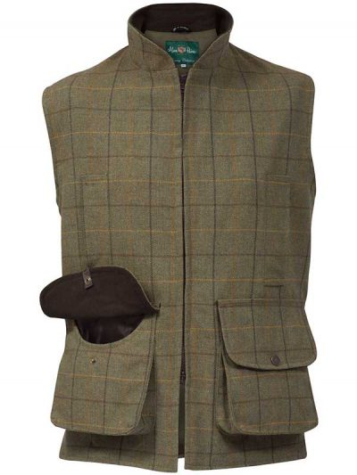 Alan Paine - Rutland Tweed Shooting Waistcoat - Dark Moss