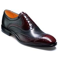 Barker Flex Shoes - Bakewell - Burgundy Hi-Shine & Black Nappa