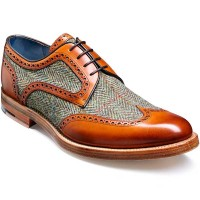Barker Shoes - Dowd - Cedar Calf & Green Harris Tweed