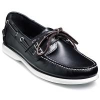 Barker Shoes - Wallis Boat Shoe - Navy Blue Oiled Calf